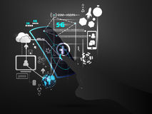 A conexão de rede da tecnologia alinha dados com vetor futuro do conceito do telefone celular do tela táctil da mão Fotografia de Stock Royalty Free