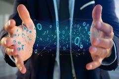 Conexão de rede dos dados com os 0 e 1 números - 3d rendem Imagens de Stock
