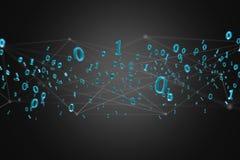 Conexão de rede dos dados com os 0 e 1 números - 3d rendem Foto de Stock