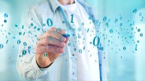 Conexão de rede dos dados com os 0 e 1 números - 3d rendem Fotos de Stock Royalty Free