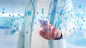 Conexão de rede dos dados com os 0 e 1 números - 3d rendem Imagens de Stock Royalty Free