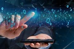 Conexão de rede dos dados com os 0 e 1 números - 3d rendem Fotografia de Stock Royalty Free