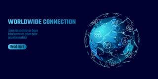 Conexão de rede global Linha negócio do ponto do continente de Ásia do mapa do mundo de troca mundial do dat da tecnologia da inf ilustração royalty free