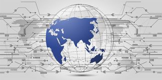 Conexão de rede global Ponto do mapa do mundo e linha composição ilustração stock