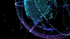 Conexão de rede global redes do mundo de 4K Digitas O planeta gerencie laços sem emenda ilustração do vetor
