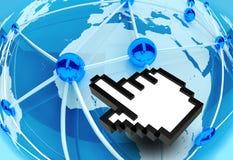 conexão de rede social do mundo 3d com o ícone da mão Imagem de Stock