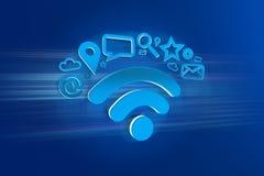 conexão do símbolo do wifi cercada pelos multimédios e pelo Internet app Fotografia de Stock Royalty Free
