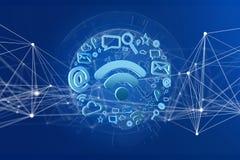 conexão do símbolo do wifi cercada pelos multimédios e pelo Internet app Imagem de Stock Royalty Free