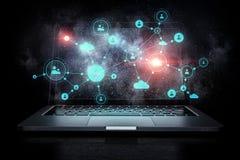 Conexão e trabalhos em rede sociais Meios mistos Fotos de Stock