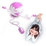 Conexão em linha do mundo, menina Imagem de Stock Royalty Free