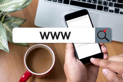 Conexão em linha do navegador do computador do página da web do Internet do Web site de WWW Fotografia de Stock