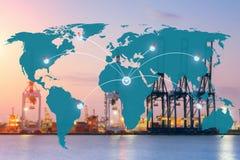 Conexão global da parceria da logística do mapa fotografia de stock
