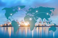 Conexão global da parceria da logística do mapa Imagem de Stock