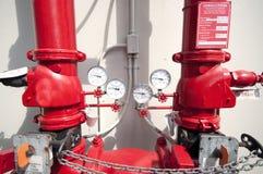 Conexão hidráulica do sistema de sistema de extinção de incêndios de incêndio imagem de stock royalty free