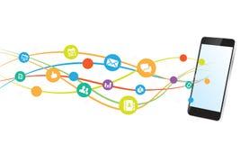 Conexão a Internet de uma comunicação de Smartphone Fotografia de Stock Royalty Free
