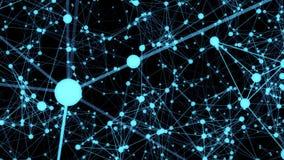 Conexão, partículas e luz da estrutura 3d Fotografia de Stock Royalty Free