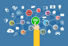 Conexão sem fio Conceito da tecnologia da informação Foto de Stock