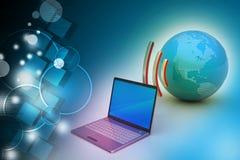 Conexão sem fio dos portáteis com a terra Fotos de Stock