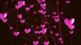 Conexão social do coração da rede com a estrutura do ícone do amor fotos de stock