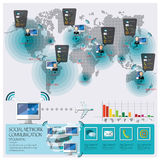 Conexão social Infographic de uma comunicação da rede Imagens de Stock