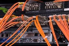 Conexões óticas da fibra com os servidores Fotos de Stock Royalty Free