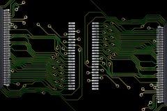 Conexões da placa de circuito impresso no fundo preto Imagem de Stock Royalty Free