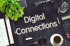 Conexões de Digitas no quadro preto rendição 3d Fotos de Stock