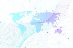 Conexões de rede global com o mapa do mundo Fundo da conexão a Internet Estrutura abstrata da conexão polygonal ilustração do vetor