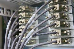 Conexões de rede que entram na cremalheira Foto de Stock Royalty Free