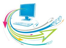 Conexões do computador ilustração royalty free