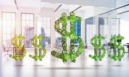 Conexões e conceitos dos trabalhos em rede como meios do salário do dinheiro no fundo branco do escritório Imagem de Stock Royalty Free