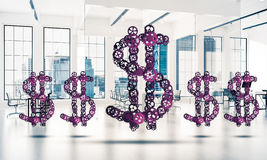Conexões e conceitos dos trabalhos em rede como meios do salário do dinheiro sobre Fotos de Stock Royalty Free