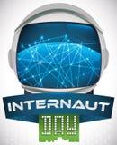 Conexões e fitas de Helmet Reflecting Network do astronauta para o dia do Internaut, ilustração do vetor Imagem de Stock