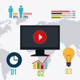 Conexões e negócio do mundo infographic Fotografia de Stock Royalty Free