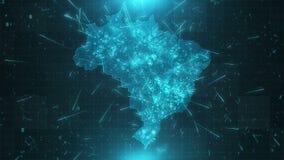 Conexões 4K das cidades do fundo do mapa de Brasil ilustração royalty free