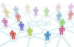 Conexões sociais dos media dos povos da cor da rede Foto de Stock Royalty Free