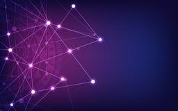 Conex?o de rede global Fundo geom?trico abstrato com pontos e linhas de conex?o Tecnologia de Digitas e ilustração do vetor