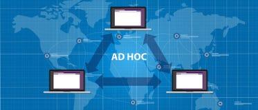 Conexión ad hoc del dispositivo del par de la topología de red Imagen de archivo
