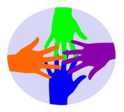 Conexión colorida de las manos. Imagen de archivo libre de regalías