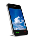Conexión computacional de la nube en el teléfono móvil Fotos de archivo