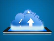 Conexión computacional de la tableta y de la nube Imagen de archivo