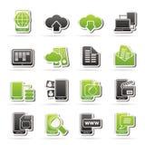 Conexión, comunicación e iconos del teléfono móvil Fotos de archivo libres de regalías