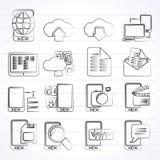 Conexión, comunicación e iconos del teléfono móvil Fotos de archivo