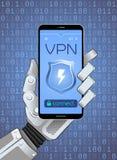 Conexión con el VPN vía red móvil Fotografía de archivo libre de regalías