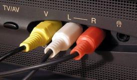 Conexión de cable audio y video imagen de archivo