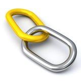 conexión de cadena abstracta 3d - plata y oro Foto de archivo libre de regalías
