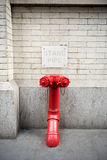 Conexión de la columna de alimentación para el cuerpo de bomberos en Nueva York Fotografía de archivo