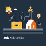 Conexión de la electricidad, fuente eléctrica solar, ahorro de energía ilustración del vector