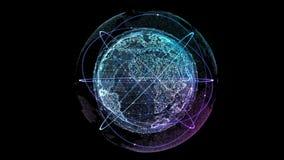 Conexión de la tecnología de Digitaces del globo con los satélites que están en órbita libre illustration