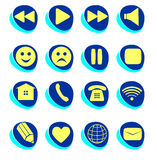 Conexión de los símbolos, email, juego, pausa, teléfono, SE de la comunicación ilustración del vector